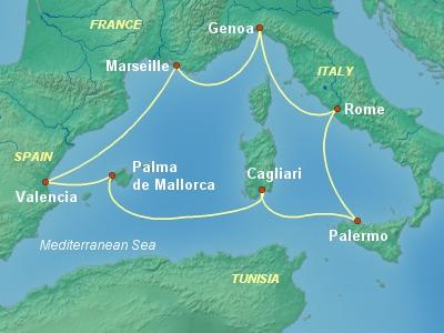 מסלול שייט בים התיכון באוניה דיוינה